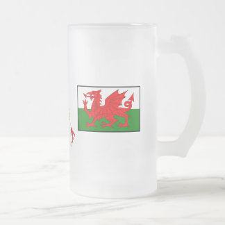 Six Nations Wales Frosted Glass Beer Mug