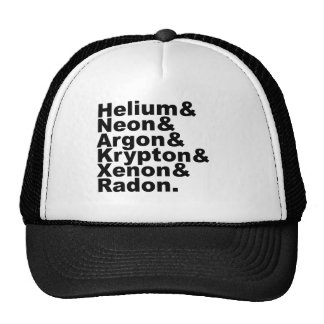 Six Noble Gases on the Periodic Table of Elements Cap
