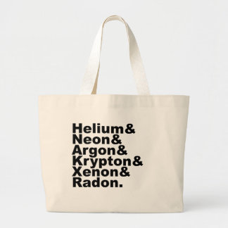Six Noble Gases on the Periodic Table of Elements Large Tote Bag