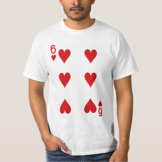 Six of Hearts Playing Card T-Shirt
