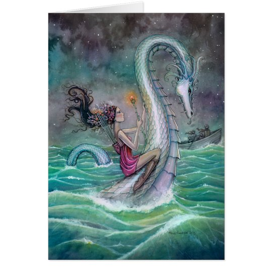 Six of Wands Tarot Fantasy Art Sea Serpent Card