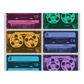 Six Old School Cassette Tapes Postcard