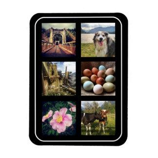 Six Photos Instagram Collage Rectangular Photo Magnet