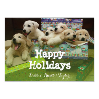 Six puppies sit in Christmas boxes 13 Cm X 18 Cm Invitation Card