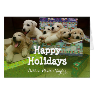 Six puppies sit in Christmas boxes Greeting Card