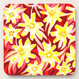 Six Red & Yellow Floral Watercolor Drink Coasters