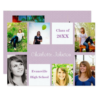 Six/Seven Photos Purple - 3x5 Grad Announcement