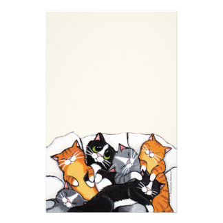 Six Sleeping Cats Note Paper Stationery