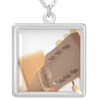 Six String Guitar Silver Plated Necklace