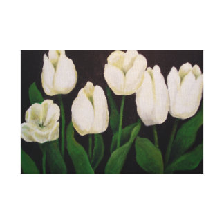 Six White Tulips Canvas Print
