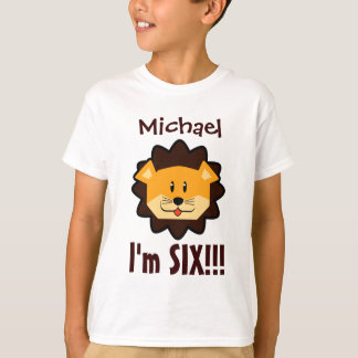 Six Years 6th Birthday Cute Lion Face V031N Tee Shirt