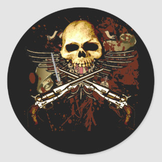 Sixgun Skull Round Sticker