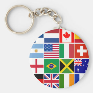 Sixteen Flags of Many Nations T-shirts, Mugs, More Basic Round Button Key Ring