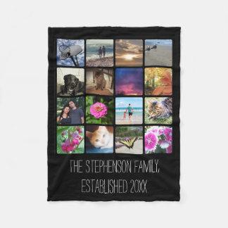 Sixteen Rounded Corners Photo Collage or Instagram Fleece Blanket