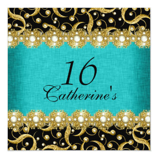 sixteenth birthday elegant any age celebration 13 cm x 13 cm square invitation card