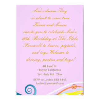 Sixteenth Birthday invitation. 17 Cm X 22 Cm Invitation Card