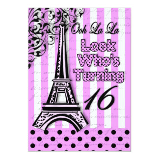 Sixteenth Birthday - Invite - French/Eiffel Tower