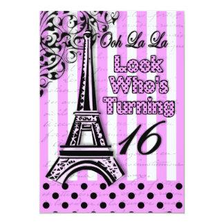 "Sixteenth Birthday - Invite - French/Eiffel Tower 5"" X 7"" Invitation Card"