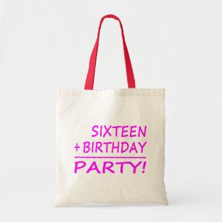 Sixteenth Birthdays Sixteen + Birthday Party Tote Bag