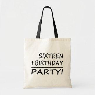 Sixteenth Birthdays Sixteen + Birthday Party Tote Bags