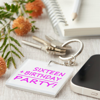 Sixteenth Birthdays Sixteen + Birthday Party Square Acrylic Keychain