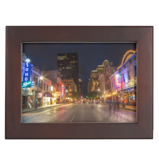 Sixth Street At Dusk In Downtown Austin, Texas Keepsake Box