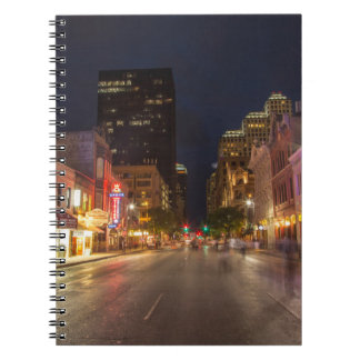 Sixth Street At Dusk In Downtown Austin, Texas Notebook