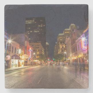 Sixth Street At Dusk In Downtown Austin, Texas Stone Coaster