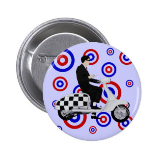 Sixties check mod scooter rider 6 cm round badge