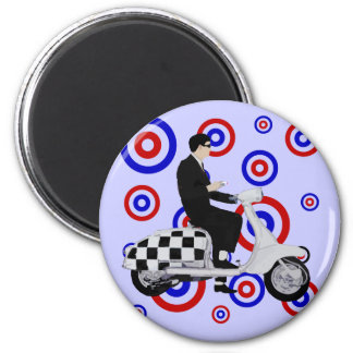 Sixties check mod scooter rider 6 cm round magnet