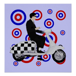 Sixties check mod scooter rider poster