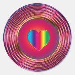 Sixties Circle of Love Classic Round Sticker