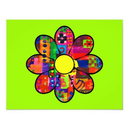 Sixties Flower Power 11 Cm X 14 Cm Invitation Card