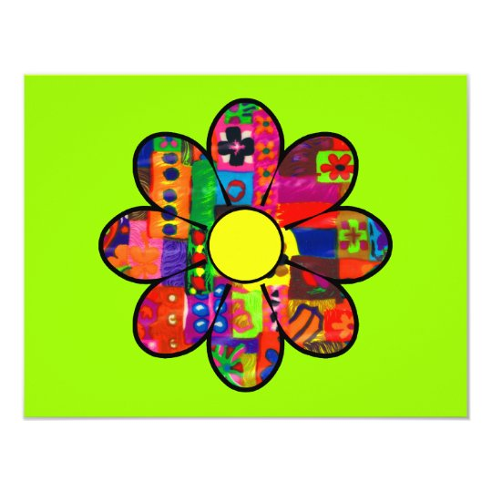 Sixties Flower Power 11 Cm X 14 Cm Invitation Card