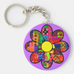 Sixties Flower Power Basic Round Button Key Ring