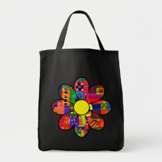 Sixties Flower Power Canvas Bag