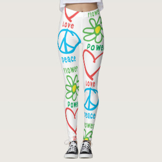 Sixties Flower Power Peace and Love Leggings