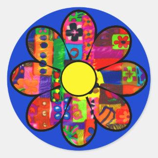 Sixties Flower Power Round Sticker