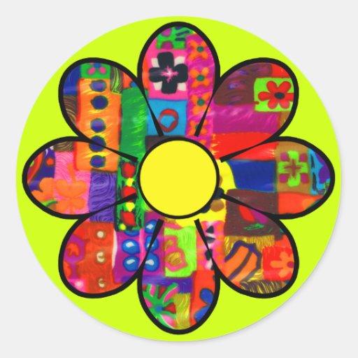 Sixties Flower Power Round Stickers