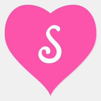 Sixties Lipstick Pink Monogrammed Heart Sticker