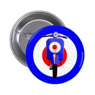 Sixties Look Scooter on Mod Target 6 Cm Round Badge