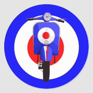 Sixties Look Scooter on Mod Target Classic Round Sticker