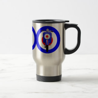 Sixties Look Scooter on Mod Target Stainless Steel Travel Mug