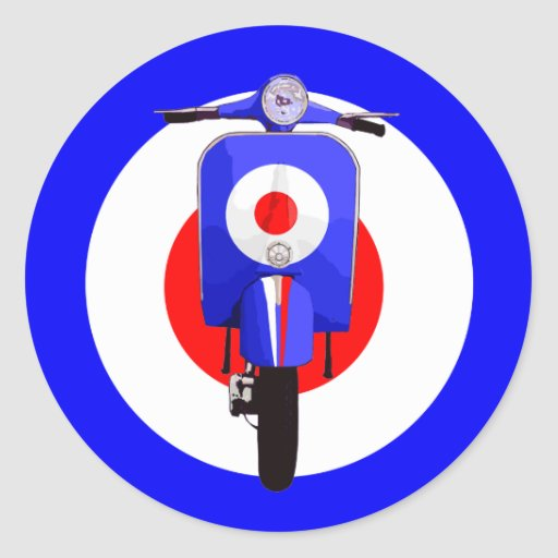 Sixties Look Scooter on Mod Target Round Stickers