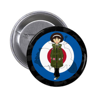 Sixties Mod Girl in Parka with Scooter Button