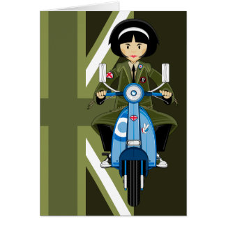 Sixties Mod Girl in Parka with Scooter Card