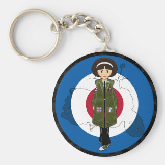 Sixties Mod Girl in Parka with Scooter Keychain