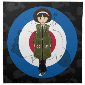 Sixties Mod Girl in Parka with Scooter Napkin