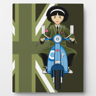 Sixties Mod Girl in Parka with Scooter Plaque