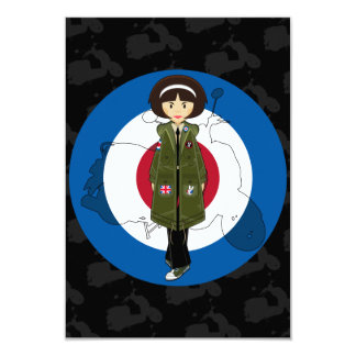 Sixties Mod Girl in Parka with Scooter RSVP Card 9 Cm X 13 Cm Invitation Card
